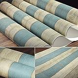 Vinyltuch des Blauen Bretts der amerikanischen Landtapete des amerikanischen Mittelaltertapeten Retro- Vertikaler Streifen-hölzerner Korn-Vliesstoff (Color : Blue White)