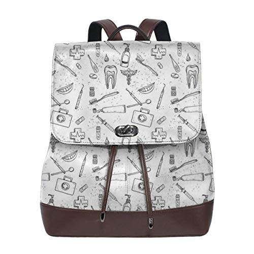Women's Leather Backpack,Hand Drawn Style Medical Pattern with Dental Hygiene Theme Teeth Care Cleaning,School Travel Girls Ladies Rucksack