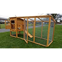 Large 8ft Chicken Coops Large Chicken Coop Hen House Ark Poultry Run Nest Box Rabbit Hutch Suitable For Up To 4 Birds - Integrated Run & Cleaning Tray & Innovative Locking Mechanism