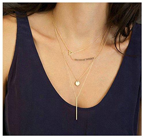 Bishiling Sexy Schmuck Halskette mit Anhänger für Frauen Münzen Dreieck Kristall Zylinder Länge Quaste Halskette (Medallion Gold Kostüm Halskette)