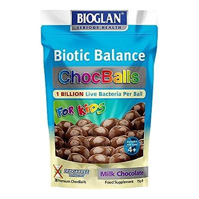 Bioglan Biotic Balance Milk Choc Balls for Kids, 1 Billion CFU Probiotic per ball, suitable for Vegetarians, Source of Fibre and Calcium. - 30 balls from PharmaCare Europe Ltd