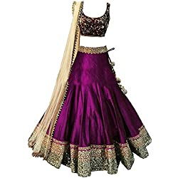 Palli Fashion Girl's Embroidered Silk Lehenga Choli (8-12 Yrs) (PF_56001) (Purple)