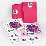 6 Einladungskarten Geburtstag Kinder Eule Herz für Mädchen incl. 6 Umschläge, 6 Tüten / pink, 6 Aufkleber Einladungen Kindergeburtstag Geburtstagseinladungen Set Partyset Kartenset Party