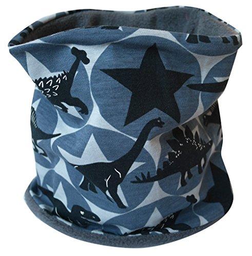 WOLLHUHN Warmes Halstuch, Schlupfschal schwarz-grau mit coolen Dinos und Sternen für Mädchen und Jungen, innen Fleece anthrazit 20151112