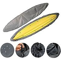 iisport Kayak Cubierta impermeable y duradera para almacenamiento de canoa, cubierta de bloqueo solar que ofrece protección UV para barco de pesca, Hobie Pro Angler, Rowing Shell & Paddle Board, 16.5'(Fit for 12ft-13ft Kayak)