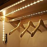 Auraglow Veilleuse Bande Lumineuse 30 LED 1M Détecteur de Mouvements PIR Sans-fil pour Armoire Alimentée par Batterie