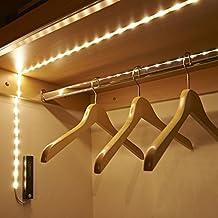 Auraglow Luz Nocturna de Armario con Sensor de Movimiento Inalámbrico PIR 30 Tiras de LED Flexible