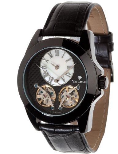 Yves Camani YC1034-C - Reloj analógico automático para hombre con correa de piel, color negro