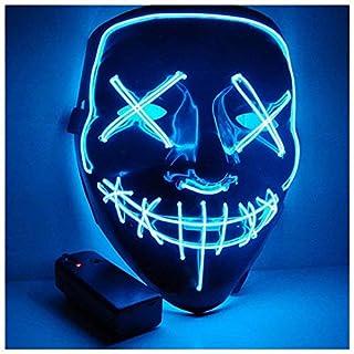 Foneso LED Maske mit 3 Blitzmodi für Halloween Fasching Karneval Party Kostüm Cosplay Dekoration (Blau)