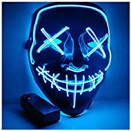 Foneso Halloween LED Masks, Terrible Costume for Halloween Cosplay Carnival Parties Powered Battery Blue (Not Included)