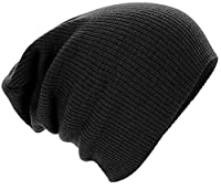 Mens Ladies Knitted Woolly Winter Oversized Slouch Beanie Hat Cap skateboard (Black)