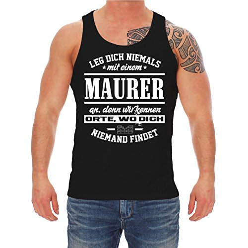 Männer und Herren Trägershirt Leg dich niemals mit einem Maurer an Schwarz