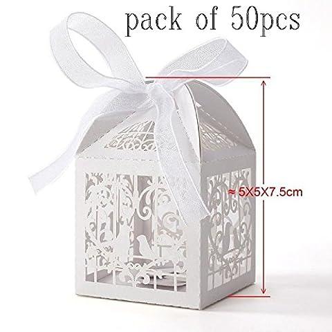 JUNGEN 50 PCS Mariage Bonbons Boîte de Bonbons L'oiseau Le Mariage de Boîte de Bonbons Creux de la Boîte D'emballage