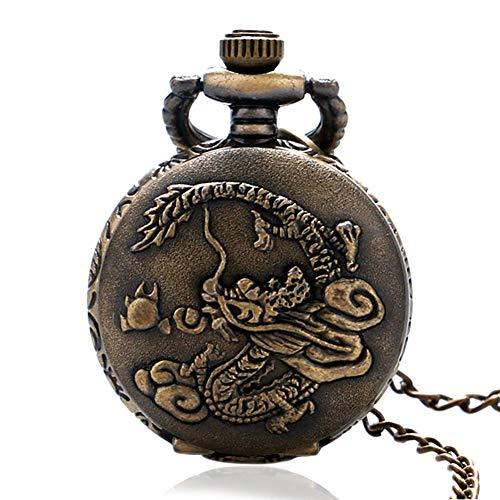 Retro Reloj de Bolsillo, Estilo Antiguo China Zodiac Dragon Lucky Analógico Reloj de Bolsillo de Cuarzo, Regalos para Hombr