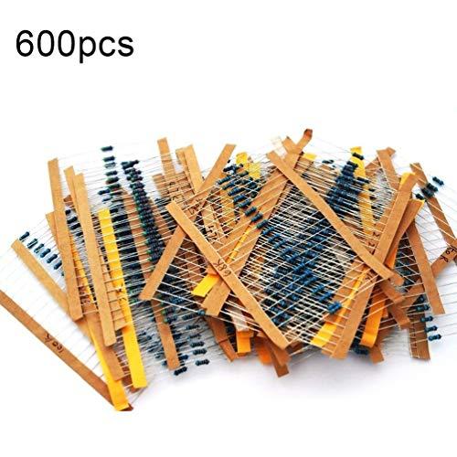 600 Stücke 30 Werte Metallschichtwiderstände Widerstand Sortiment Kit Set Jeder 20 Stücke Geeignet für 10 Ohm ~ 1 Mt Ohm -