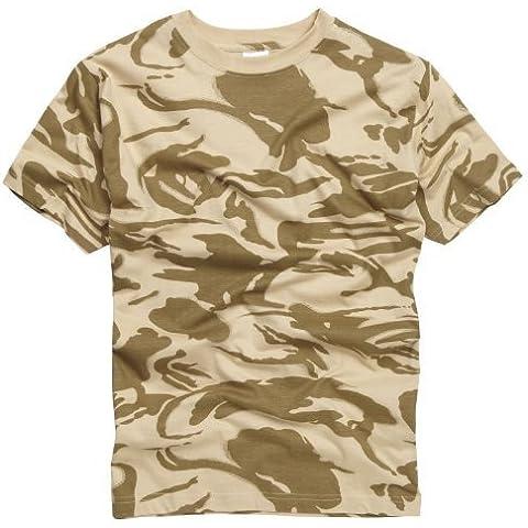 100% Cotone Stile Militare T-shirt - British Mimetico Deserto - Army Surplus Camouflage