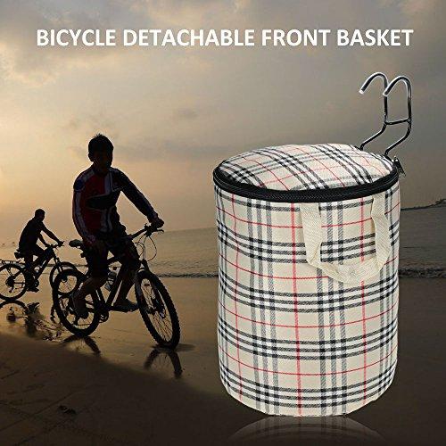 Docooler Lenkerkorb Tasche/Fahrradkörbe, Material: Stahl Und Oxford Tuch, Korbgröße : 29 * 23cm Beige