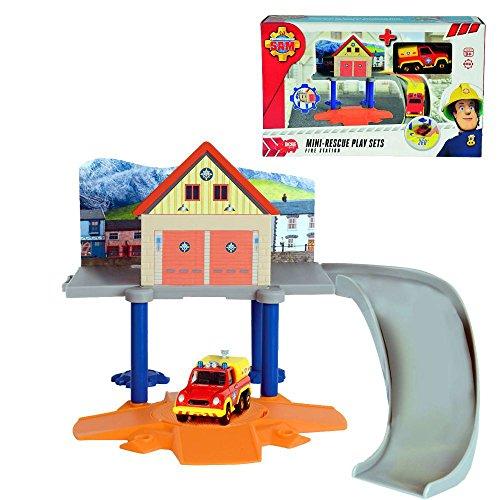 feuerwehrstation dickie Feuerwehrmann Sam - Mini Die Cast Serie - Mini Spiel Set Rescue Feuerwehrstation