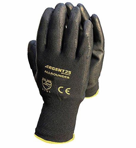 12 Paar Arbeitshandschuhe Montage-Handschuhe mit PU-Beschichtung | XS-3XL | Nylon-Handschuhe Nahtlos | Wasserabweisende Grip-Handschuhe | Schutzhandschuhe