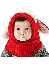 Demarkt 1 pcs Hiver Chapeau Écharpe Chaud bébé Garçon filles Mignon Chiot élasticité Chapeau Bonnet pour enfants Chaleureux Ski Bonnet Rouge