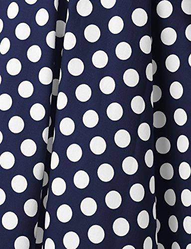 Dressystar Vintage Tupfen Retro Cocktail Abschlussball Kleider 50er 60er Rockabilly Neckholder Marineblue Weiß Dot L - 6