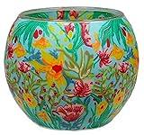 Himmlische Düfte Geschenkartikel CC228 Tischdekoration, Tropical Flowers Windlicht Glas 11 x 11 x 9 cm, bunt