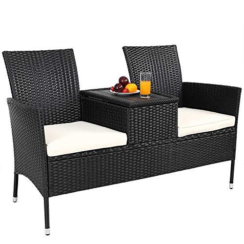 Deuba® Gartenbank Poly Rattan | Tisch inkl. 7cm Auflagen Aufbewahrungsbox Gartensofa Kinobank Bank Garten Möbel 2 Sitzer