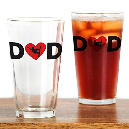 CafePress-Snowboard-Herz Dad-Pint-Glas, 16oz Trinkglas farblos