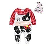 Bekleidung Longra 1SET Neugeborenen Säugling Baby jungen Mädchen Strampler + Mütze Overall Bodysuit Kleidung Outfit (70CM 0-6Monate, Red)