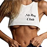 Weste Damen Sport, Huihong Frauen NO BRA CLUB Brief Drucken Kurze Tank Fitness Weste Sexy BH Charmante Bademode Beachwear (Weiß, M)