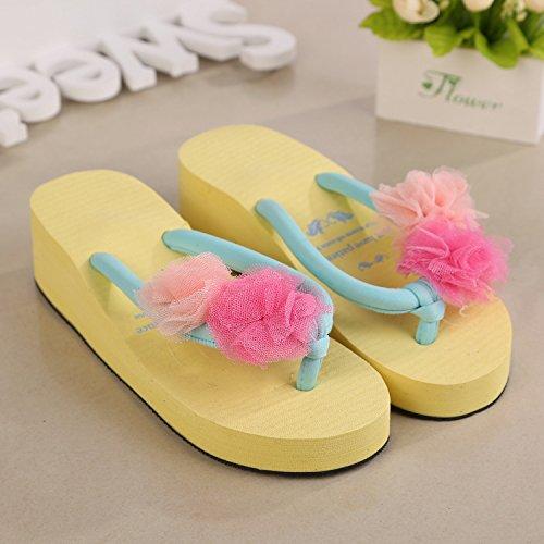 Donna tacco alto pantofole pantofole pizzo e fiori, Yellow, M