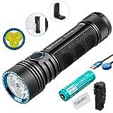 Olight Seeker 2 Pro Taschenlampe 3200 Lumen / 250 Meter 3 LEDs Leistungsstarke wiederaufladbar Seitlicher Schalter LED Taschenlampen, mit 21700 Batterie + Tidusky-Batteriefach