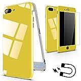 XINYUNEW Funda iPhone 6s Plus,Funda iPhone 6 Plus, 360 Grados Integral +Protector de Pantalla de Vidrio Templado Anti-rasguño Bumper con Magnética Case Cover para iPhone 6/6s Plus Amarillo