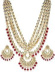Shining Diva Fashion Latest Gold Plated Kundan Pearl Fancy Necklace Jewellery Set for Women