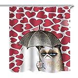 Seepong Duschvorhang 100% Antischimmel und Wasserdicht Polyester Dekorative Badezimmer Vorhänge 3D Cat Bad Vorhänge, 12 Kostenlose Vorhang Haken 180x200cm