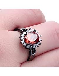 Smile YKK moda rojo flor Amatista CZ 18K anillos de banda de acero inoxidable