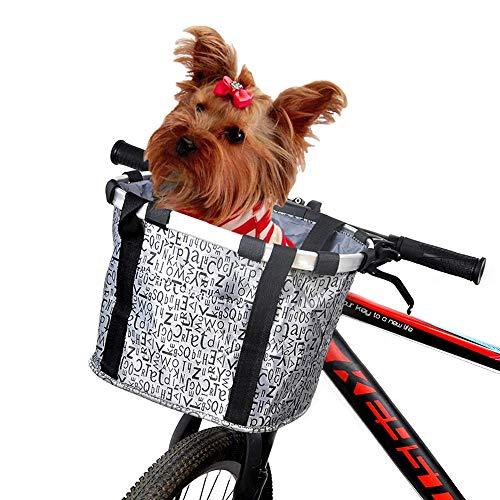 ANZOME Fahrradkorb, Faltbar Fahrrad vorne Korb, Easy Install Abnehmbare Lenkerkorb tasche für Kleiner Hund-Einkaufen-Reisen-Picknick, mit Lenkeradapter, Grau, 33 x 22 x 25 cm