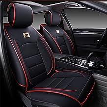Vogvigo PU Fundas para asiento Juegos de cubresientos Cojines de asiento de coche de cuero ( delantero + trasero ) Accessorios para Auto moderno Fundas para asiento de coche(estándar negro y rojo)