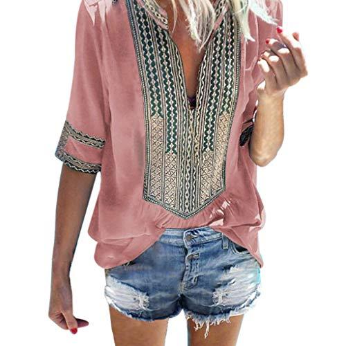 Costura Color de ContrasteTops Mujer Ronamick Lunares O Cuello Camiset