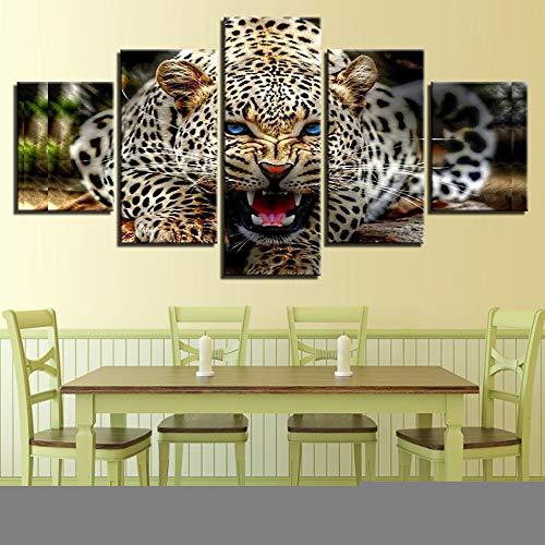 Moderna 5 Arte Canvas Living Room Lavoro Home Decor Immagini Modulare 5 Panel Animal Leopard Wall Poster Stampato