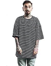 CHENMA Men Fashion Hipster Hip Hop Stripe Print Oversized T Shirt Tops