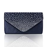 Diamonte Envelope Clutch Shoulder Bag Purse Womens Fashion - Navy