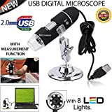 Microware 1000X USB Digital Microscope Magnifier Camera with OTG Function Microscopic Endoscope 8-LED Light 1000X Magnification with Stand