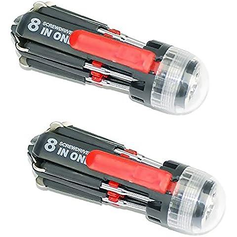 Hrph Destornillador portable del destornillador de múltiples funciones de la combinación de 2 PC con la luz de la reparación de la antorcha de 3 LED