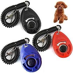 3X Hundetraining Hundepfeife Hundeerziehung Klicker mit Handgelenk Band Training Klicker Hunde Katzen Pferde Puppy Training Clickers mit Handgelenkband, Schwarz blau rot