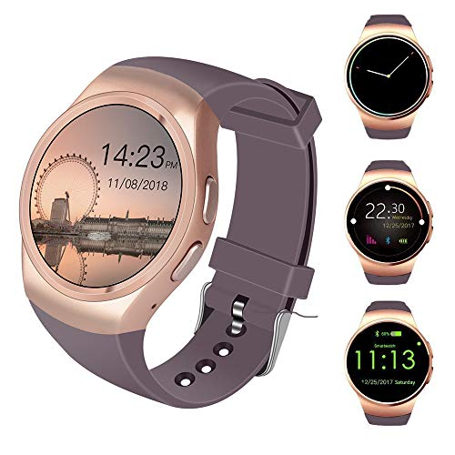 Smart Watch With Heart Rate Monitor and Smart Notifications,Round Touch Screen Bluetooth Smart Watches With SIM Card Slot and TF Card Slot Compatible With Apple iOS and Android Phones (Golden)
