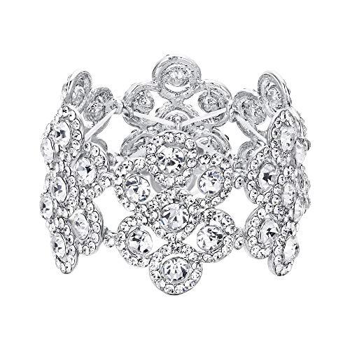 Flyonce Damen Armband Österreich Kristall Hochzeit Braut Blumen Stretch-Armkette Armreif Klar Silber-Ton