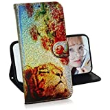 Creative Wallet Case for iPhone XS Max,Miagon Change Color Colorful Painted Design PU Glitter Leather Flip Cover with Card Holder Stand Case,Rose Tiger