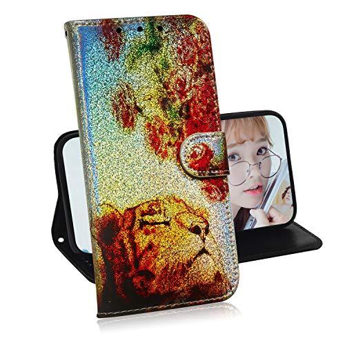 Luccichio Cover per Xiaomi Redmi Note 7,Miagon Porta Carta Guscio Protettiva Magnetico Stand Stile Libro Custodia Glitter Colorato Design,Rose Tigre