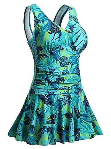 Summer Mae Damen Badekleid Plus Size Geblümt Figurformender Einteiler Badeanzug Swimsuit Grün Blätter (EU Size 48-50)